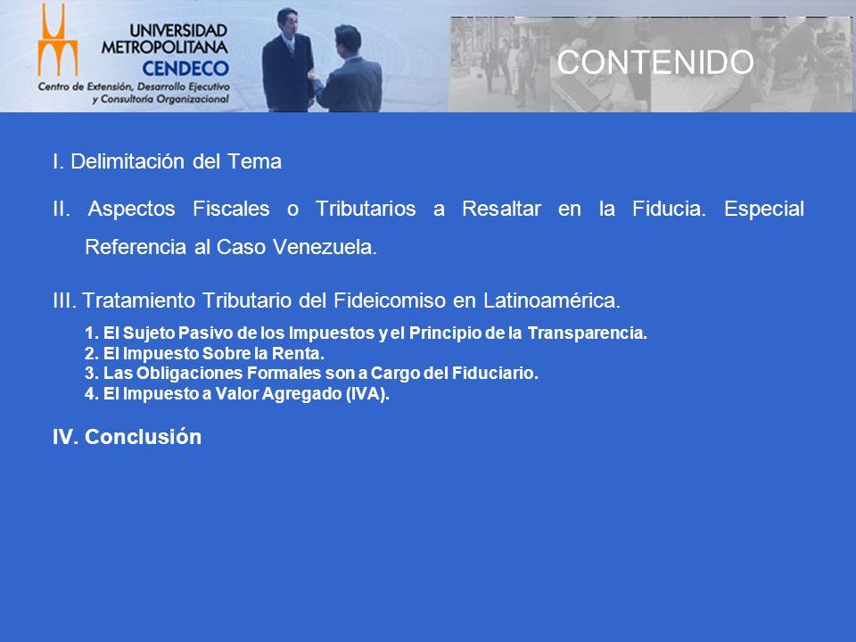 CONTENIDO I. Delimitación del Tema
