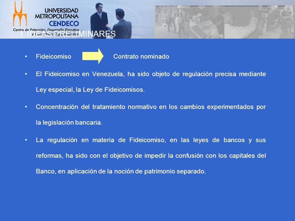I. IDEAS PRELIMINARES Fideicomiso Contrato nominado