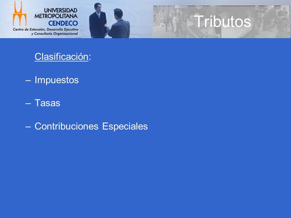 Tributos Clasificación: Impuestos Tasas Contribuciones Especiales