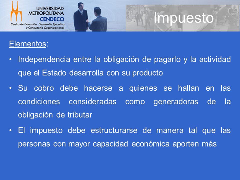 ImpuestoElementos: Independencia entre la obligación de pagarlo y la actividad que el Estado desarrolla con su producto.