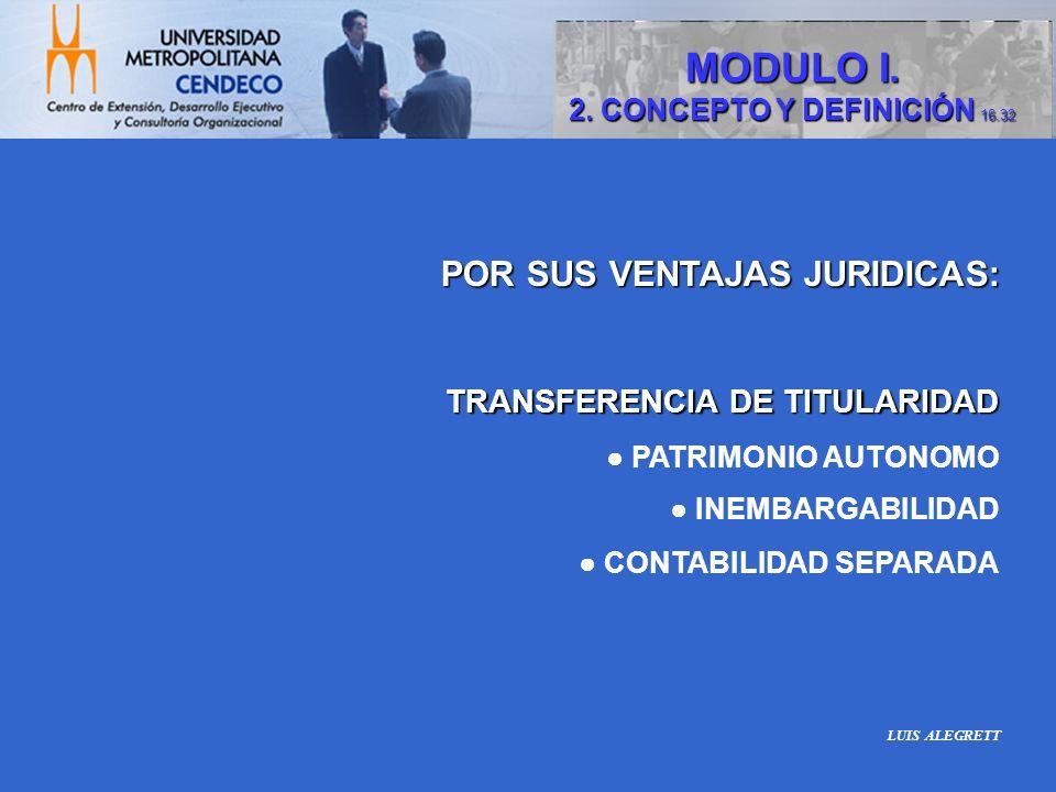 MODULO I. POR SUS VENTAJAS JURIDICAS: TRANSFERENCIA DE TITULARIDAD