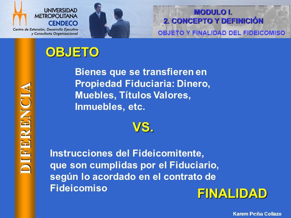 OBJETO Y FINALIDAD DEL FIDEICOMISO