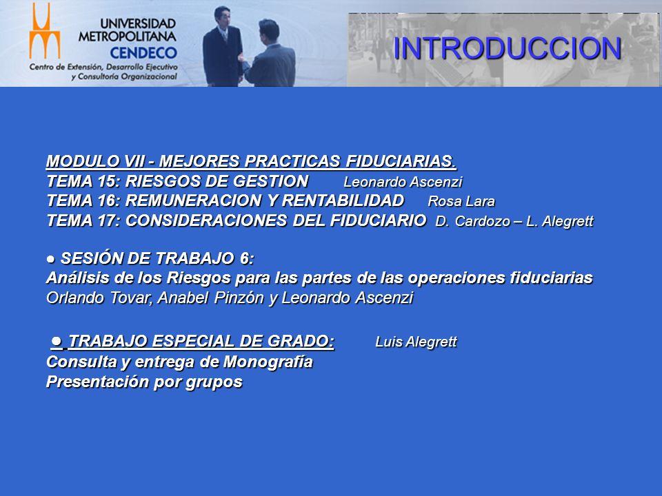 INTRODUCCION MODULO VII - MEJORES PRACTICAS FIDUCIARIAS.