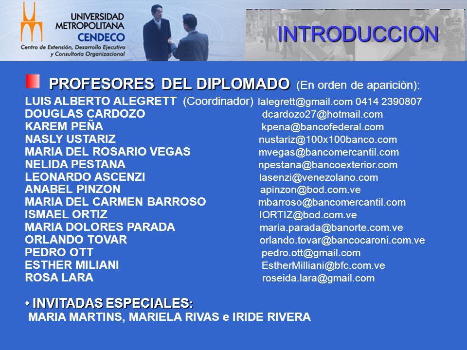 PROFESORES DEL DIPLOMADO (En orden de aparición):