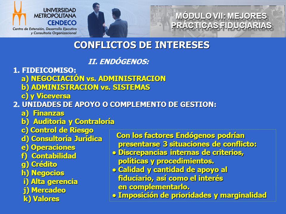 MÓDULO VII: MEJORES PRÁCTICAS FIDUCIARIAS CONFLICTOS DE INTERESES
