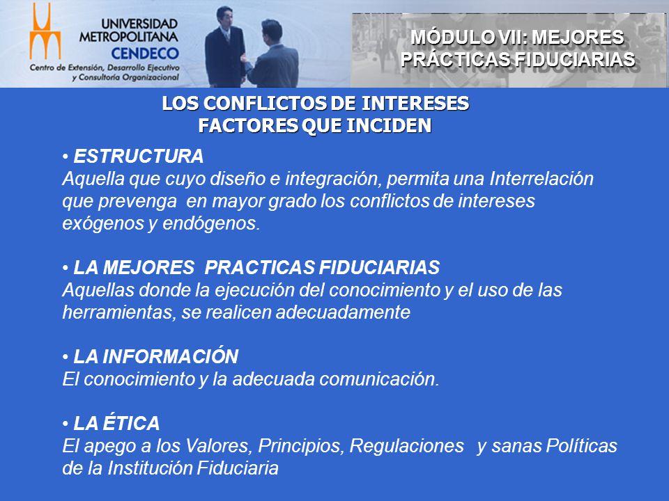 MÓDULO VII: MEJORES PRÁCTICAS FIDUCIARIAS LOS CONFLICTOS DE INTERESES