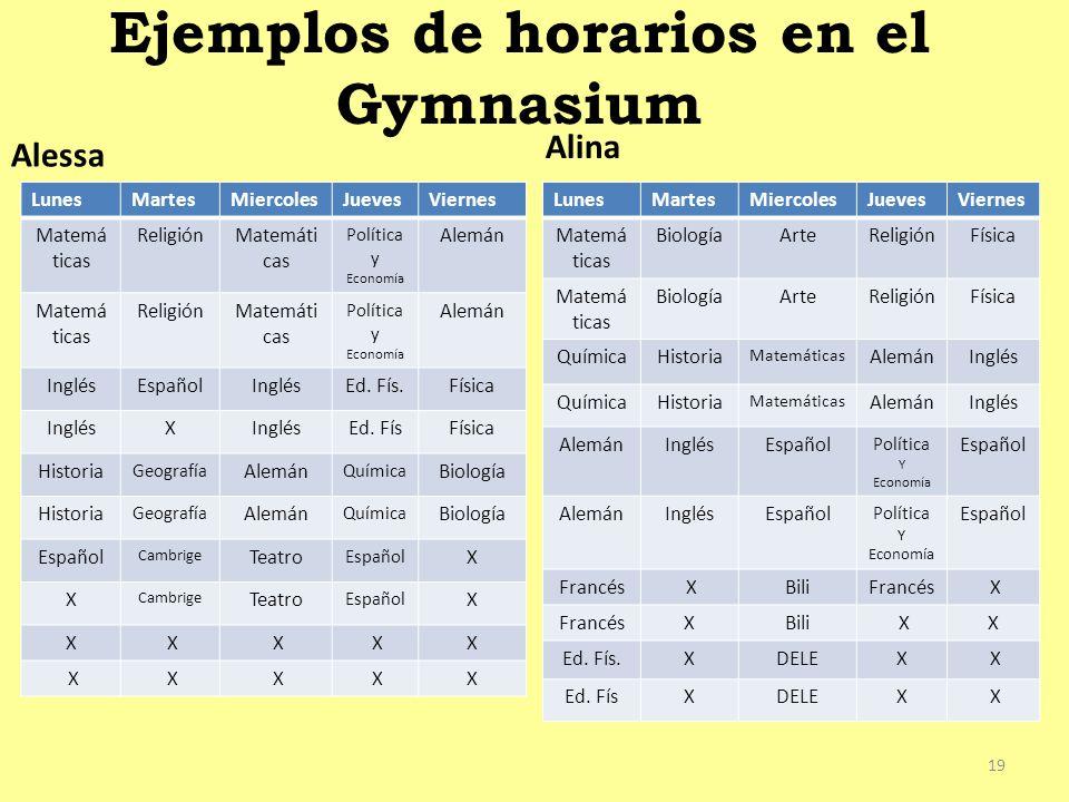 Ejemplos de horarios en el Gymnasium