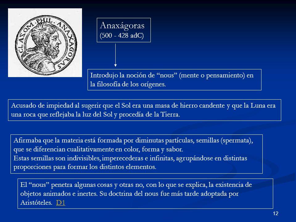 Anaxágoras (500 - 428 adC) Introdujo la noción de nous (mente o pensamiento) en la filosofía de los orígenes.