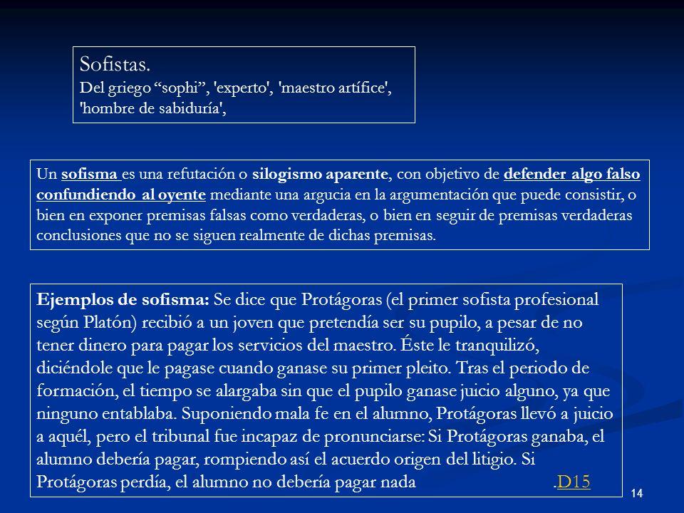 Sofistas. Del griego sophi , experto , maestro artífice , hombre de sabiduría ,