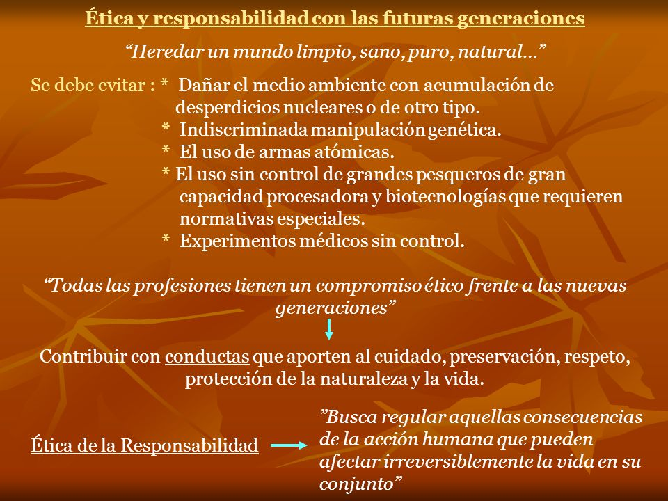 Ética y responsabilidad con las futuras generaciones