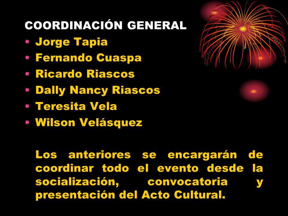 COORDINACIÓN GENERAL Jorge Tapia. Fernando Cuaspa. Ricardo Riascos. Dally Nancy Riascos. Teresita Vela.