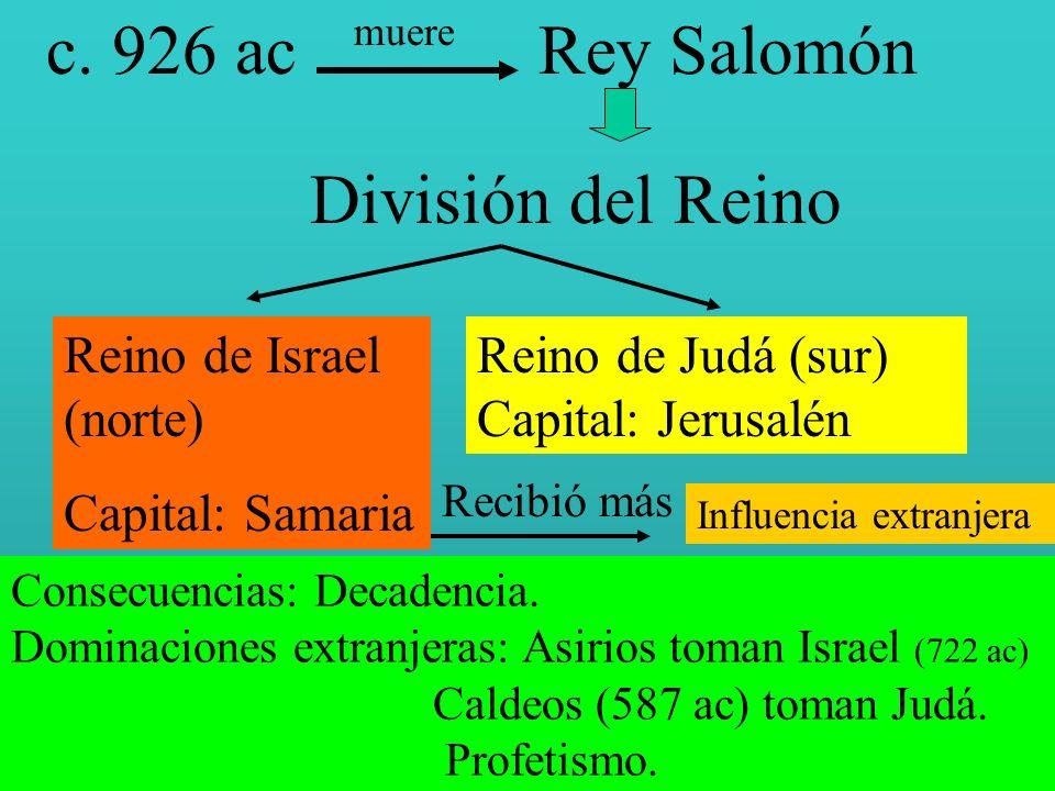 c. 926 ac Rey Salomón División del Reino Reino de Israel (norte)
