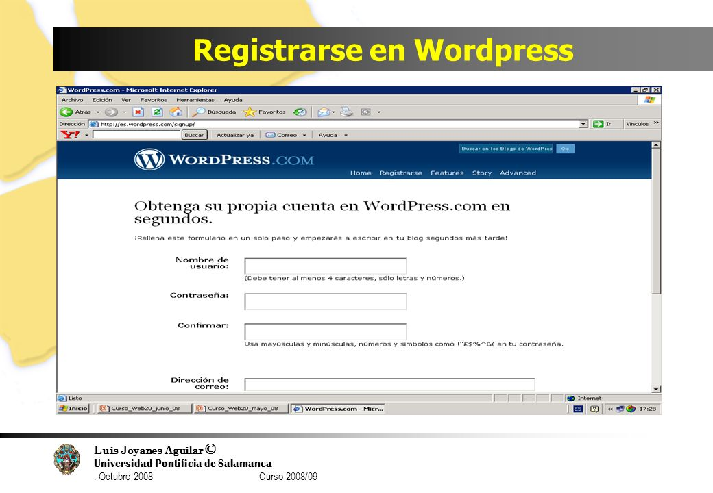 Registrarse en Wordpress
