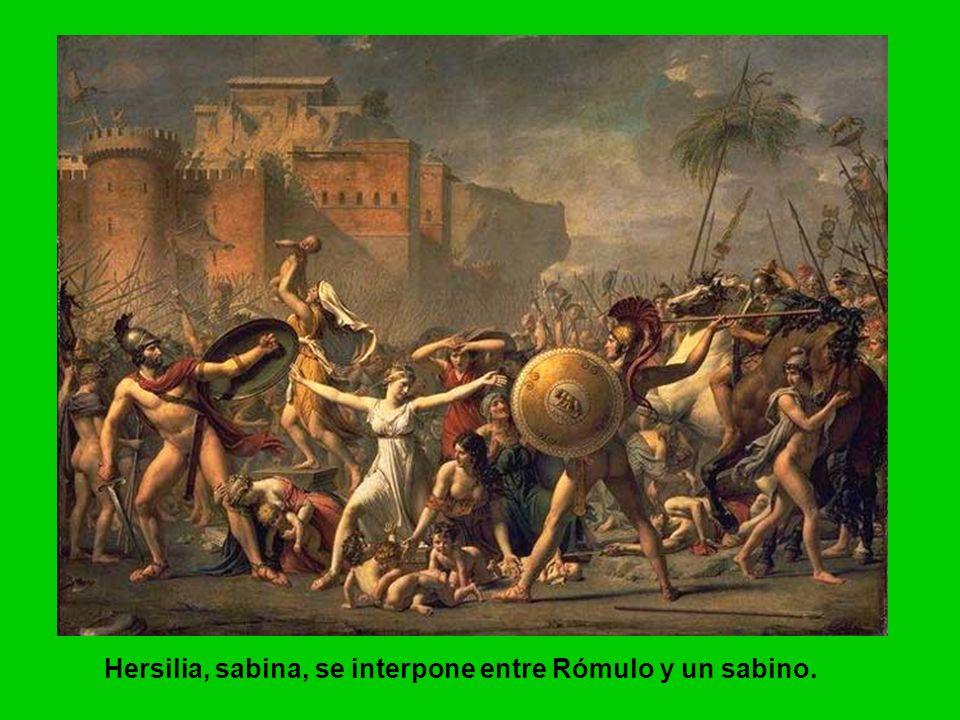 Hersilia, sabina, se interpone entre Rómulo y un sabino.