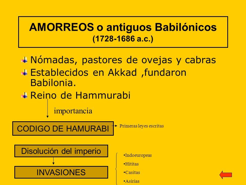 AMORREOS o antiguos Babilónicos (1728-1686 a.c.)