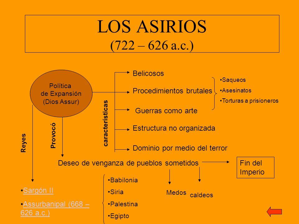 LOS ASIRIOS (722 – 626 a.c.) Belicosos Procedimientos brutales