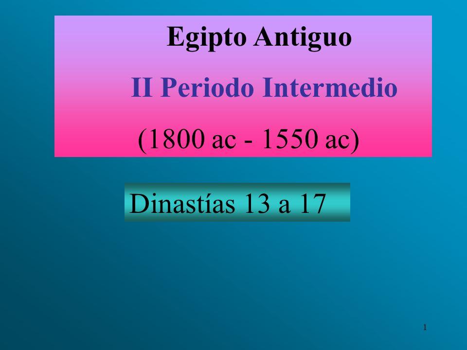 Egipto Antiguo II Periodo Intermedio (1800 ac - 1550 ac) Dinastías 13 a 17