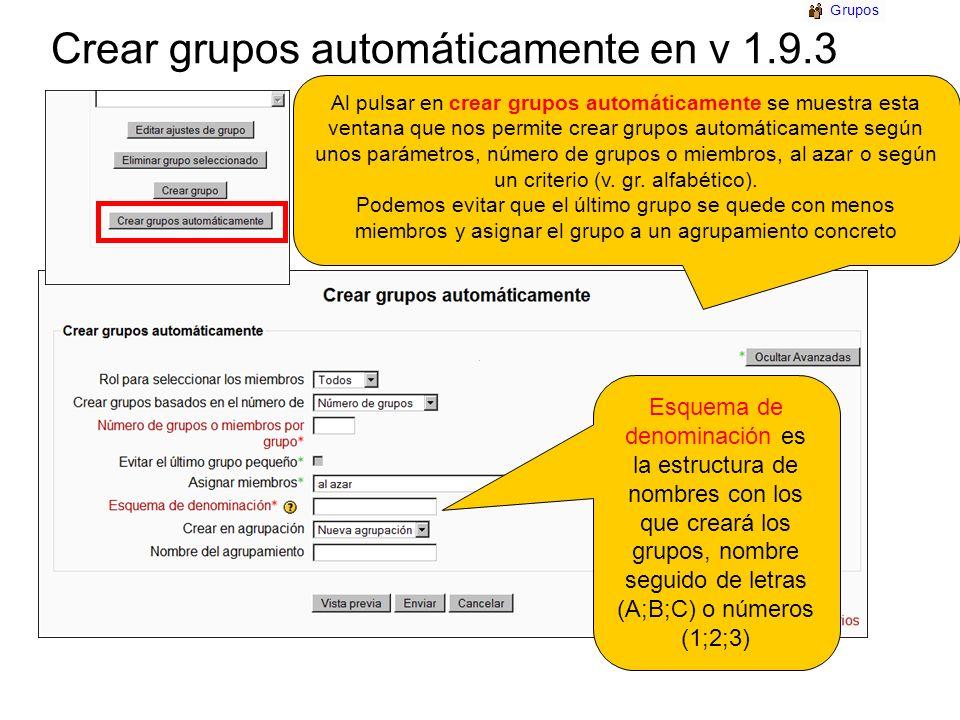 Crear grupos automáticamente en v 1.9.3