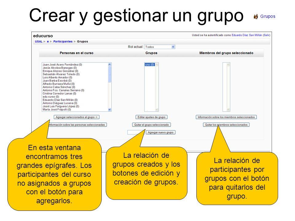 Crear y gestionar un grupo