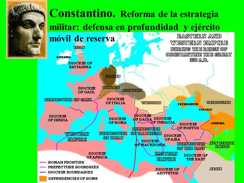 Constantino. Reforma de la estrategia militar: defensa en profundidad y ejército móvil de reserva