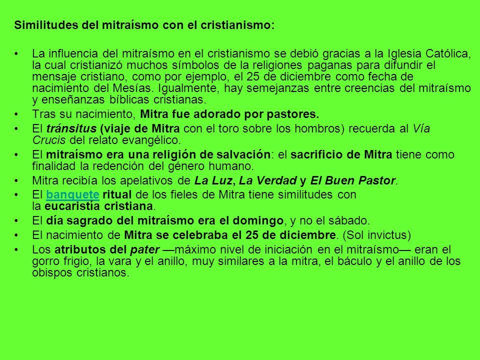 Similitudes del mitraísmo con el cristianismo: