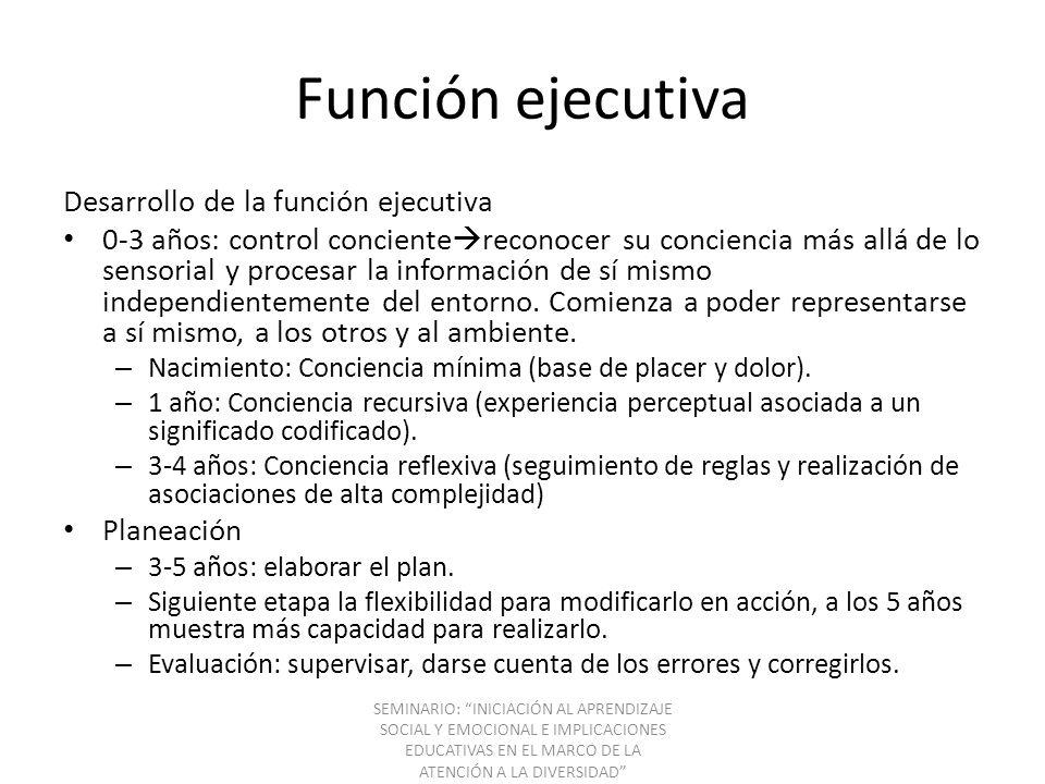 Función ejecutiva Desarrollo de la función ejecutiva