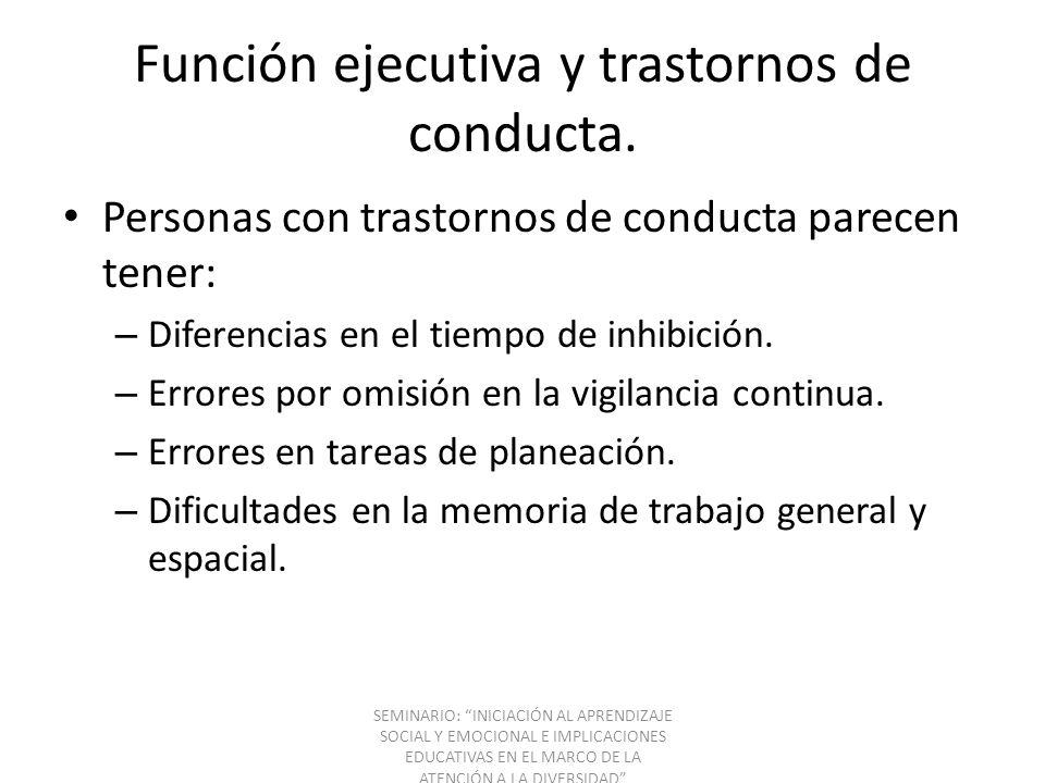 Función ejecutiva y trastornos de conducta.