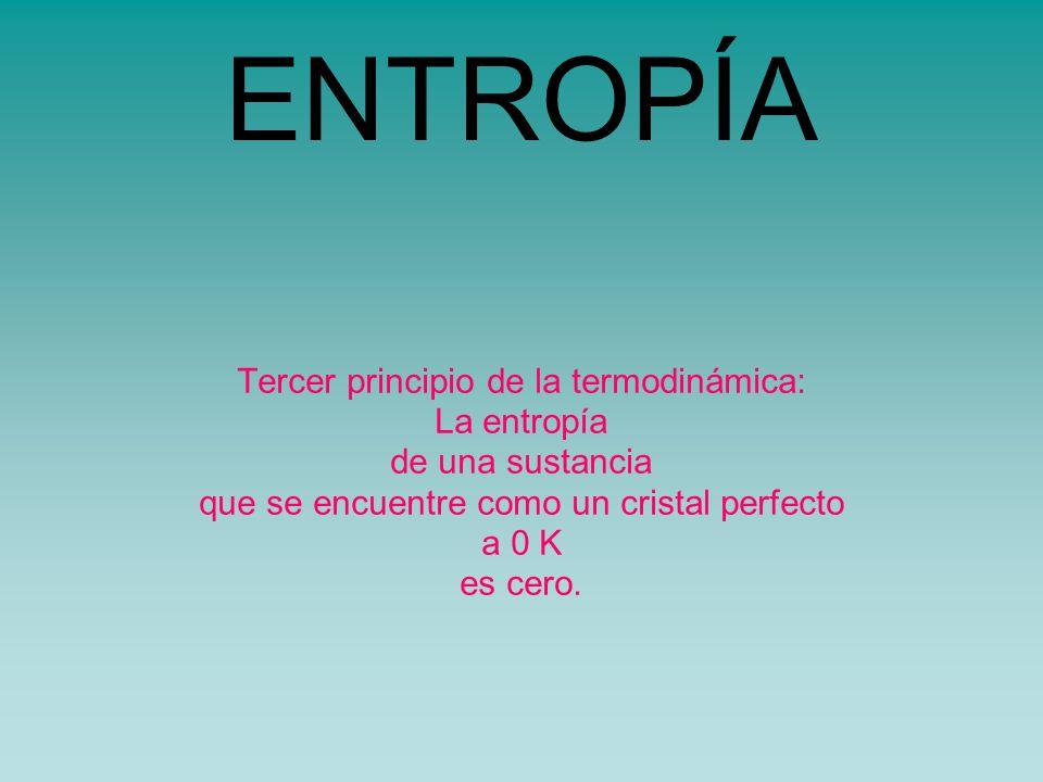 ENTROPÍA Tercer principio de la termodinámica: La entropía