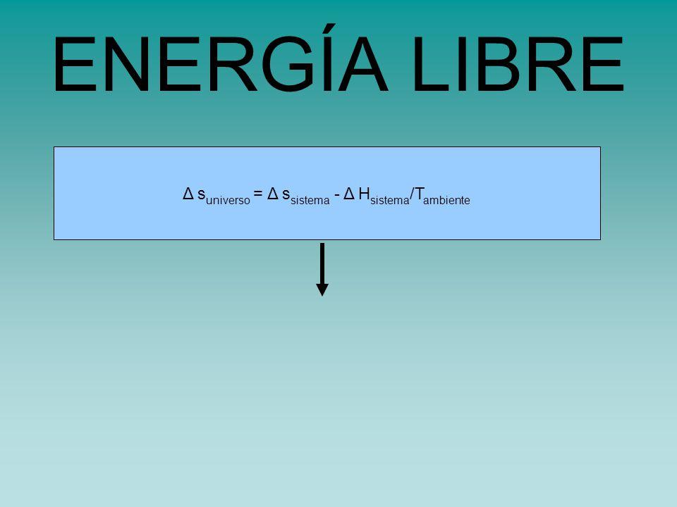 ENERGÍA LIBRE Δ suniverso = Δ ssistema - Δ Hsistema/Tambiente