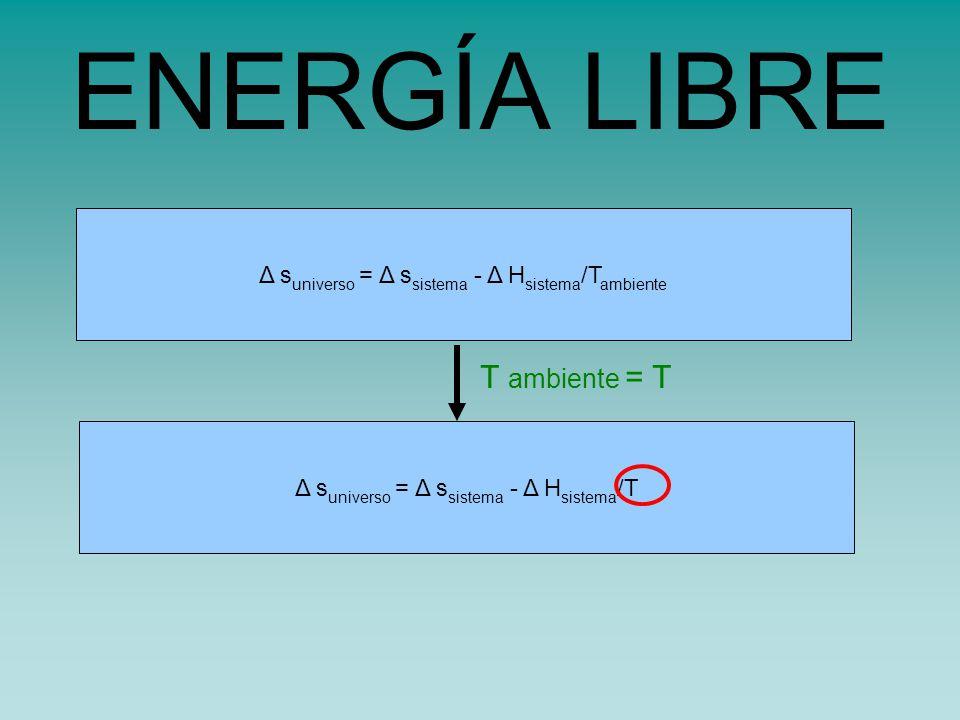 ENERGÍA LIBRE T ambiente = T