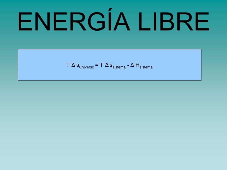 ENERGÍA LIBRE T·Δ suniverso = T·Δ ssistema - Δ Hsistema
