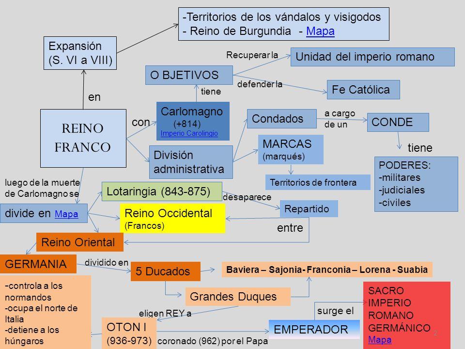 REINO FRANCO Territorios de los vándalos y visigodos