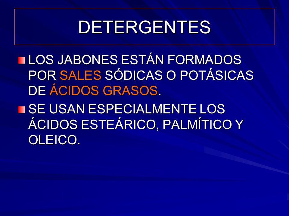 DETERGENTES LOS JABONES ESTÁN FORMADOS POR SALES SÓDICAS O POTÁSICAS DE ÁCIDOS GRASOS.