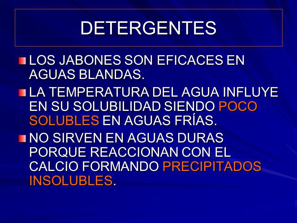 DETERGENTES LOS JABONES SON EFICACES EN AGUAS BLANDAS.