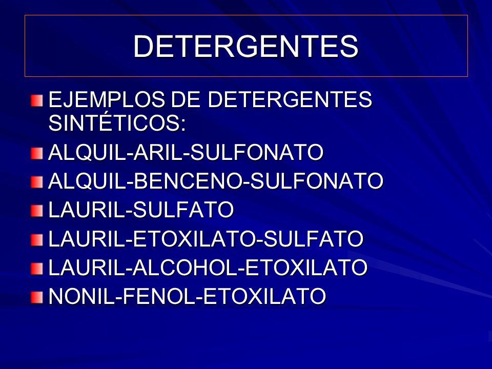 DETERGENTES EJEMPLOS DE DETERGENTES SINTÉTICOS: ALQUIL-ARIL-SULFONATO