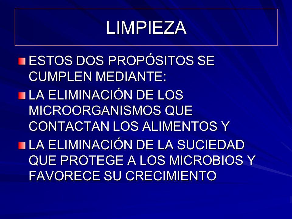 LIMPIEZA ESTOS DOS PROPÓSITOS SE CUMPLEN MEDIANTE: