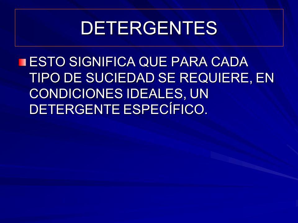 DETERGENTES ESTO SIGNIFICA QUE PARA CADA TIPO DE SUCIEDAD SE REQUIERE, EN CONDICIONES IDEALES, UN DETERGENTE ESPECÍFICO.