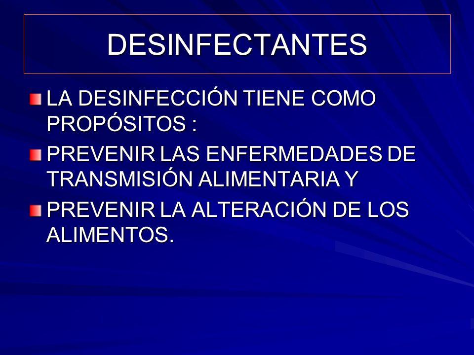 DESINFECTANTES LA DESINFECCIÓN TIENE COMO PROPÓSITOS :