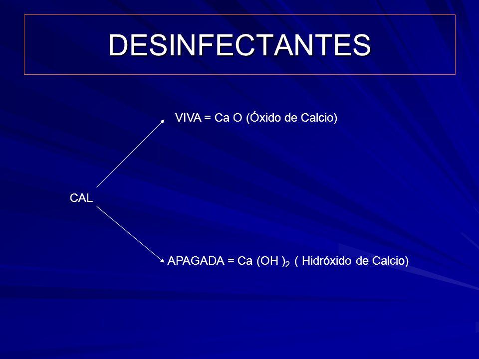 DESINFECTANTES VIVA = Ca O (Óxido de Calcio) CAL