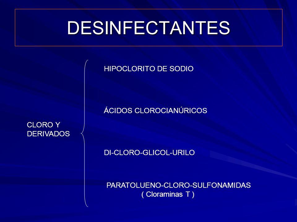 DESINFECTANTES HIPOCLORITO DE SODIO ÁCIDOS CLOROCIANÚRICOS