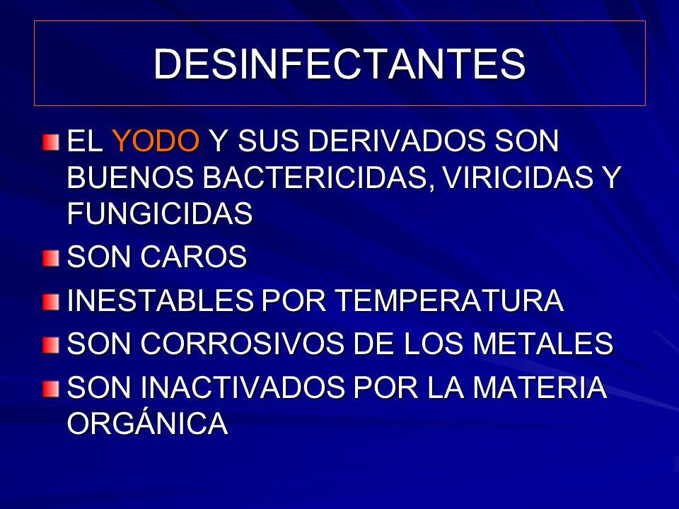 DESINFECTANTES EL YODO Y SUS DERIVADOS SON BUENOS BACTERICIDAS, VIRICIDAS Y FUNGICIDAS. SON CAROS.