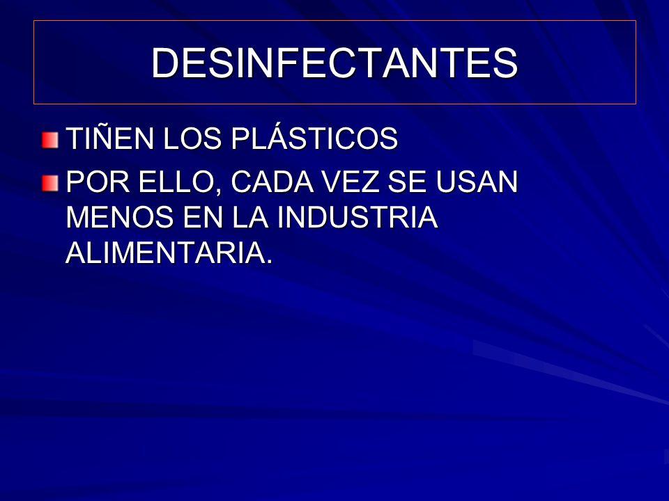 DESINFECTANTES TIÑEN LOS PLÁSTICOS