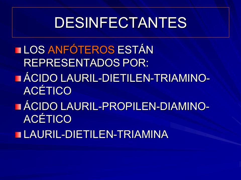 DESINFECTANTES LOS ANFÓTEROS ESTÁN REPRESENTADOS POR: