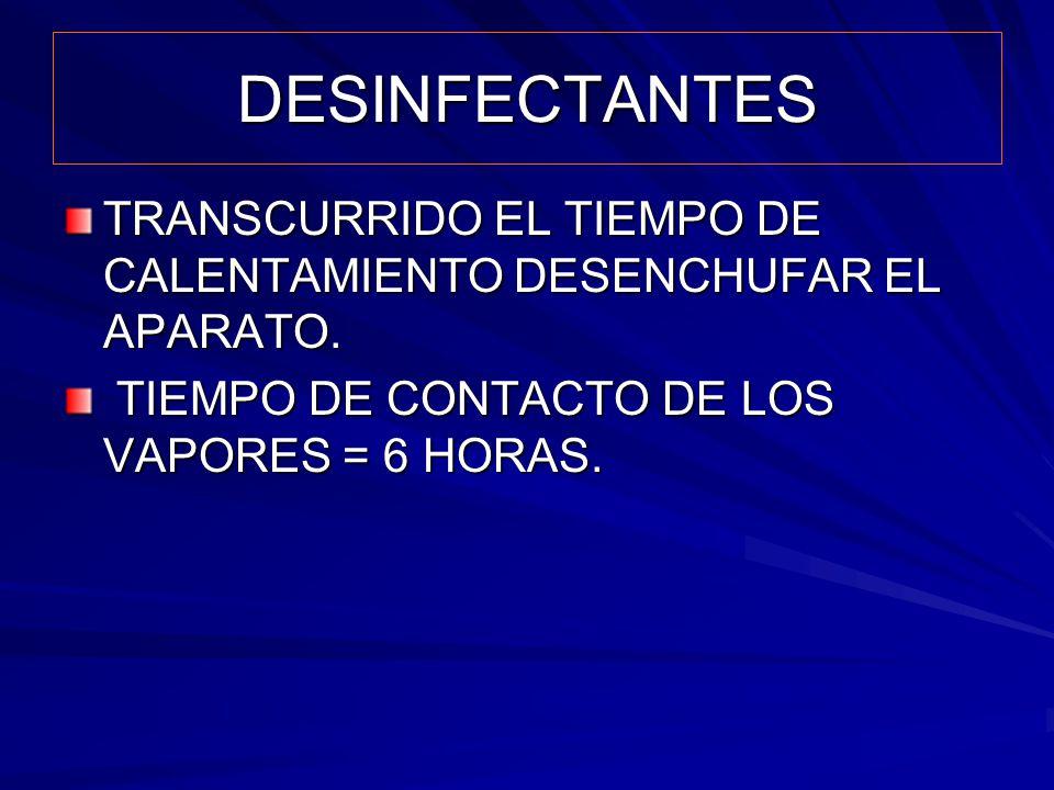 DESINFECTANTES TRANSCURRIDO EL TIEMPO DE CALENTAMIENTO DESENCHUFAR EL APARATO.