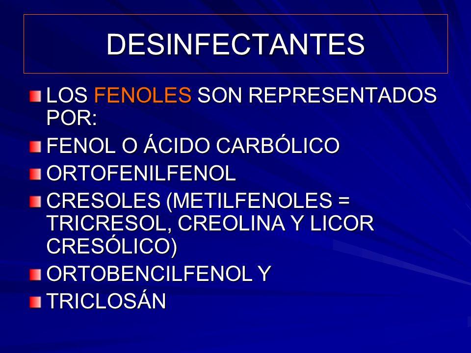DESINFECTANTES LOS FENOLES SON REPRESENTADOS POR: