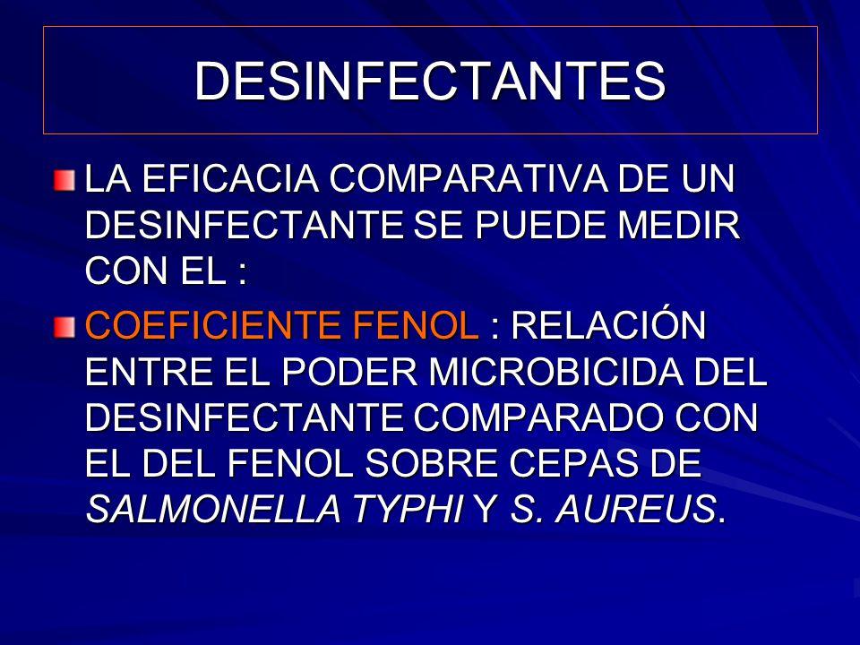 DESINFECTANTES LA EFICACIA COMPARATIVA DE UN DESINFECTANTE SE PUEDE MEDIR CON EL :