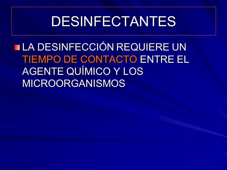 DESINFECTANTES LA DESINFECCIÓN REQUIERE UN TIEMPO DE CONTACTO ENTRE EL AGENTE QUÍMICO Y LOS MICROORGANISMOS.