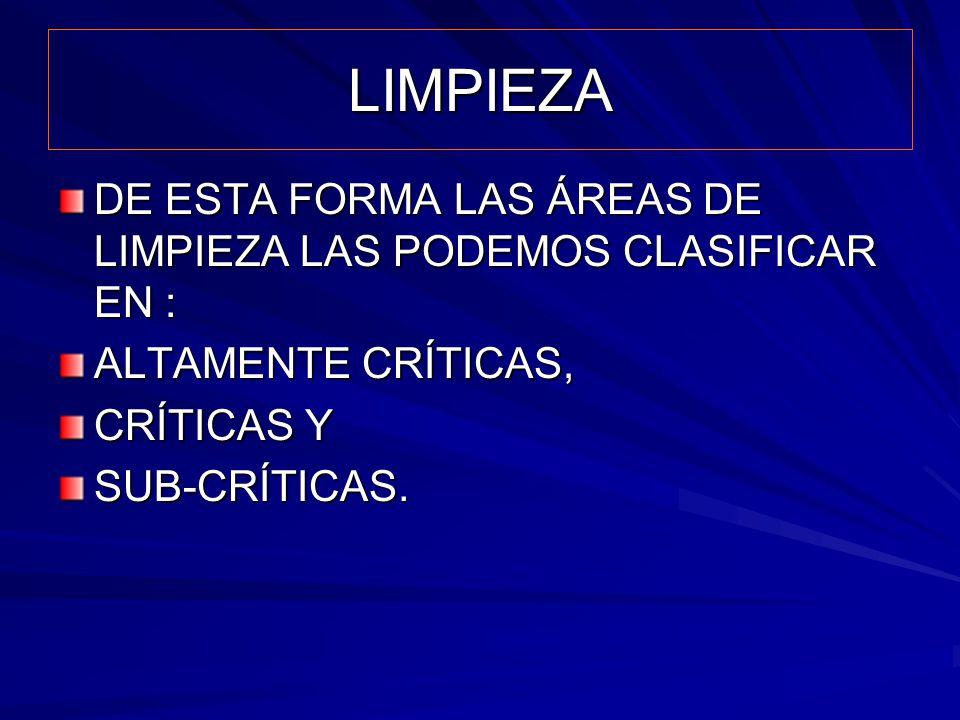 LIMPIEZA DE ESTA FORMA LAS ÁREAS DE LIMPIEZA LAS PODEMOS CLASIFICAR EN : ALTAMENTE CRÍTICAS, CRÍTICAS Y.