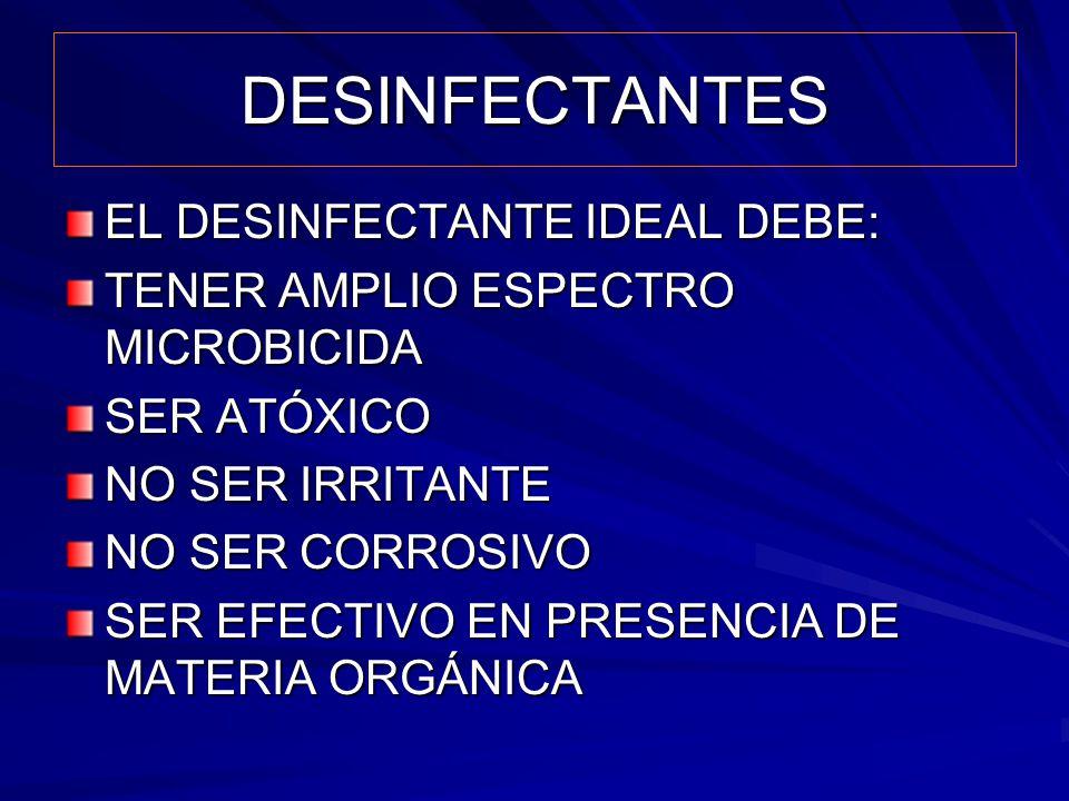 DESINFECTANTES EL DESINFECTANTE IDEAL DEBE: