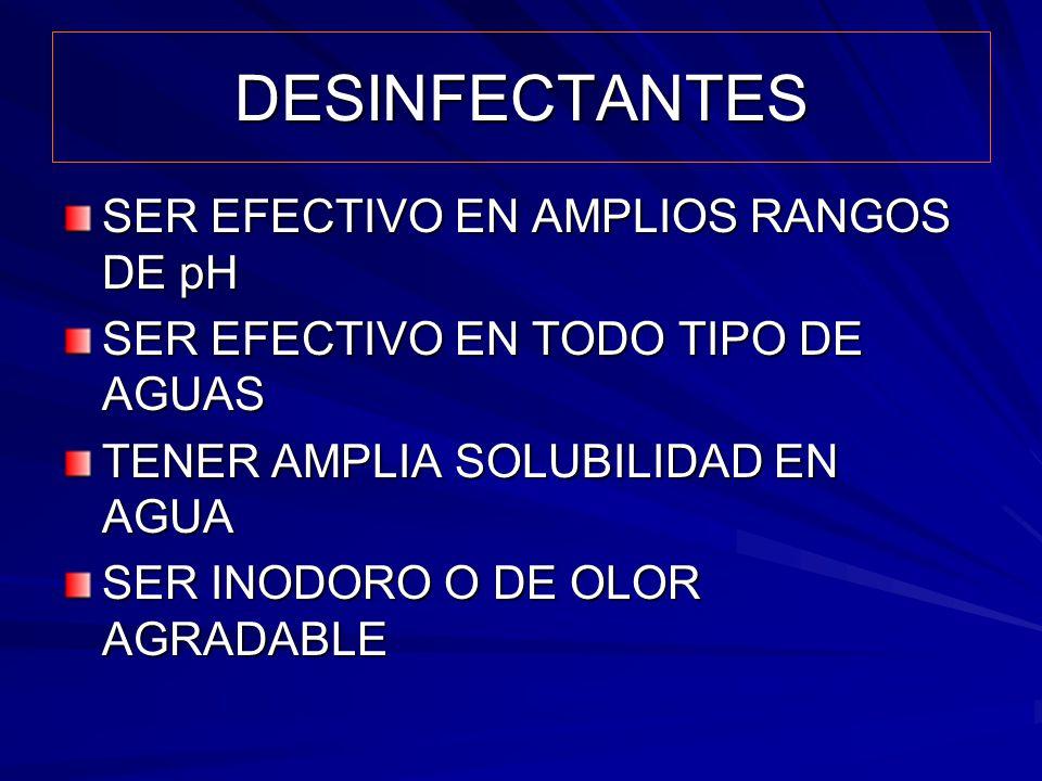 DESINFECTANTES SER EFECTIVO EN AMPLIOS RANGOS DE pH